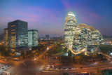 Beijing cityscape and famous landmark building in WangJing Soho area at night in Beijing, China. - 225944351