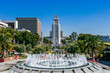 Fountain in Grand Park, and Los Angeles City Hall