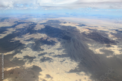 Cloudy Aerial Desert Landscape - 225956563