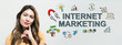 Internet marketing  with young woman in a thoughtful fac