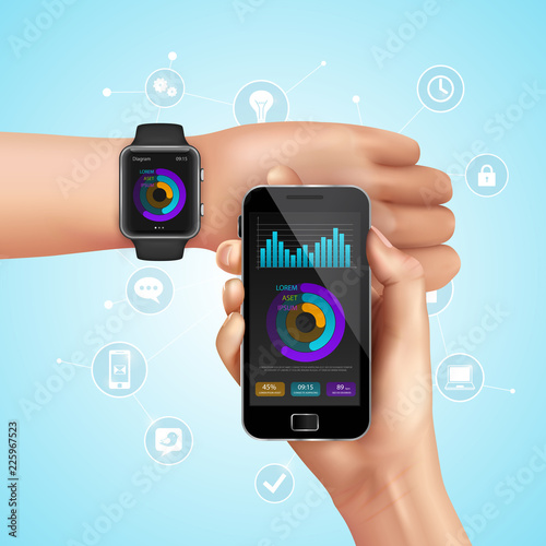 Realistic Smart Watch And Mobile Technology Composition