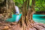 Waterfall beautiful (erawan waterfall) in kanchanaburi province asia southeast asia Thailand