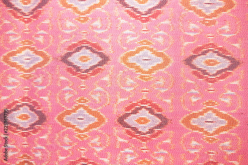 close up pink silk handicraft,Fabric fashion design,Beautiful Thai style fabric pattern