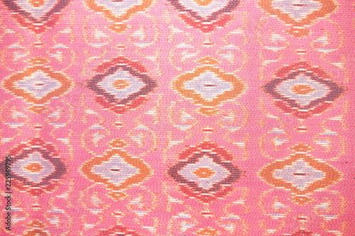 close up pink silk handicraft,Fabric fashion design,Beautiful Thai style fabric pattern  background ,Texture of Thai cloth . - 225969795