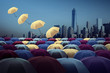 yellow umbrella fly out the city of colorful umbrella,Colorful umbrellas in the sky. The freedom that we can choose,vitage tone