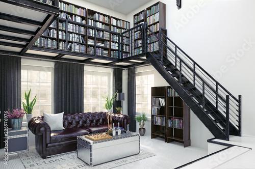 Leinwandbild Motiv home library interior design.