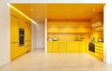 modern yellow color kitchen interior. - 225977101