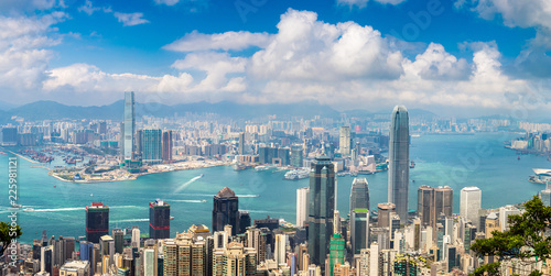 Leinwandbild Motiv Panoramic view of Hong Kong