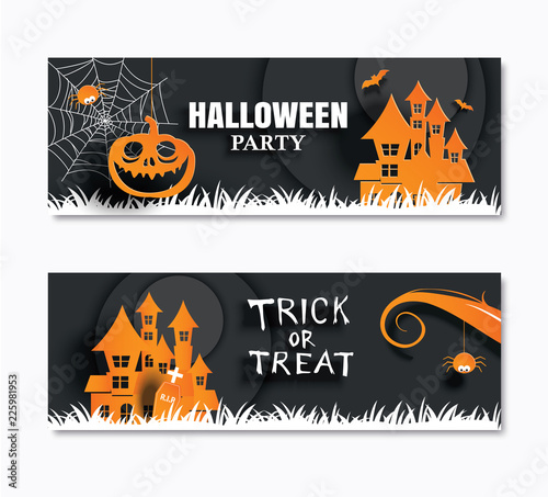 Fototapeta Halloween Party Invitations Banner And Greeting Cards Paper Art Background