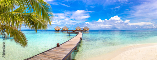 Leinwandbild Motiv Water Villas (Bungalows) in the Maldives
