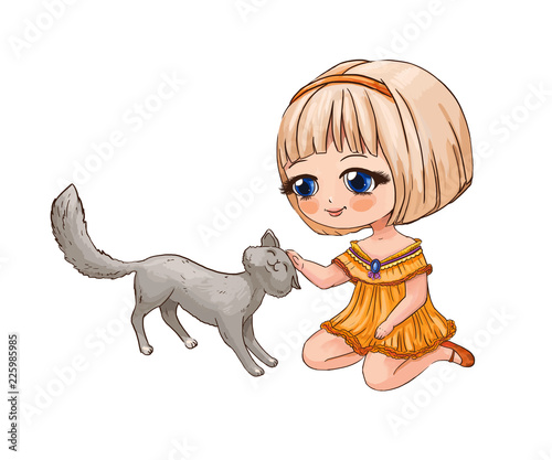 Little chibi girl stroking a cat. Cute anime illustration suitable for print on children's schoolbag, pencil case or T-shirt - 225985985