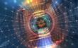 Leinwandbild Motiv Big Data concept. Flow of digital data in  global network. Quantum computer. Speed portal. Hadron Collider, abstract 3d illustration