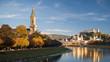 Leinwanddruck Bild - Salzburg in der Herbstabendsonne, Blick auf Christuskirche mit Makartsteg, Festung Hohensalzburg, Dom, Altstadt
