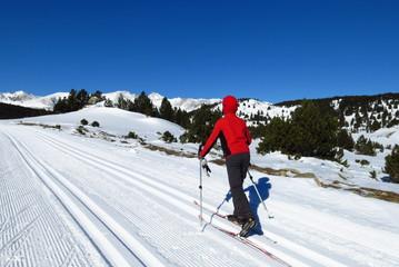 skieur de fond sur la neige dans les pyrénées l'hiver