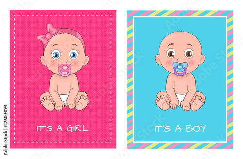 It Girl and Boy Set of Posters Dedicated to Baby
