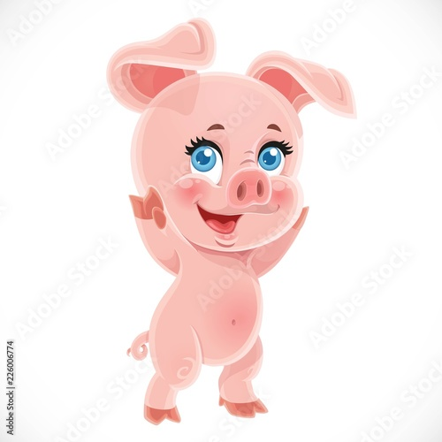 Happy little cute cartoon baby pig stand on a white background
