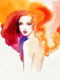 beautiful woman. fashion illustration. watercolor painting - 226010315