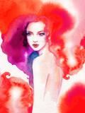 beautiful woman. fashion illustration. watercolor painting - 226010361