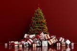 Geschenke mit Weihnachtsbaum vor Hintergrund - 226017574