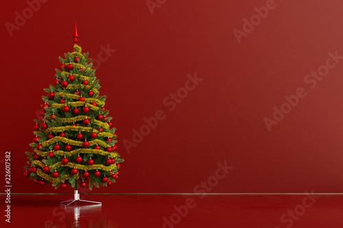 Leinwandbild Motiv Weihnachtsbaum mit Dekoration und Textfreiraum