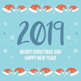 Merry Christmas and Happy New Year 2019, greeting card with red santa hats and cute snowflakes. Doodle, hand drawn vector illustration. - 226022163