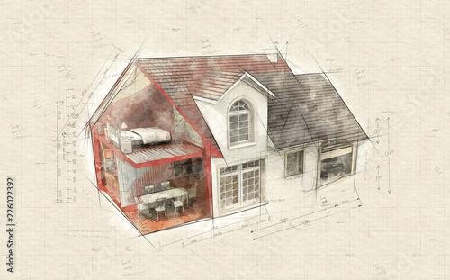 Leinwandbild Motiv House indoors and outdoors