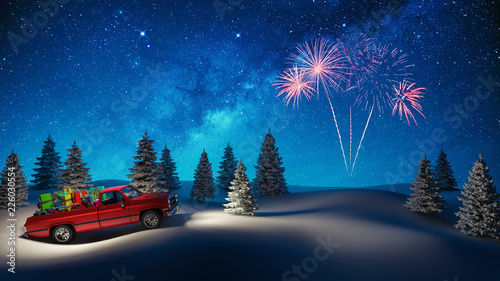 Red Car Carrying Christmas Gifts In Snowy Landscape 3d render 3d illustration