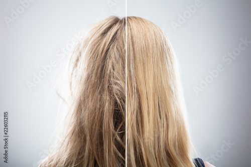 Woman's Hair Before And After Hair Straightening - 226032115