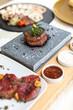 Exquisite food. Dish. Restaurant. Menu. Order. Exquisite dish, creative restaurant meal concept, haute couture food.