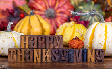 Happy Thanksgiving Text With a Colorful Autumn Background