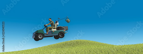 Golf player with golf cart giving a jump 3d illustration - 226040523