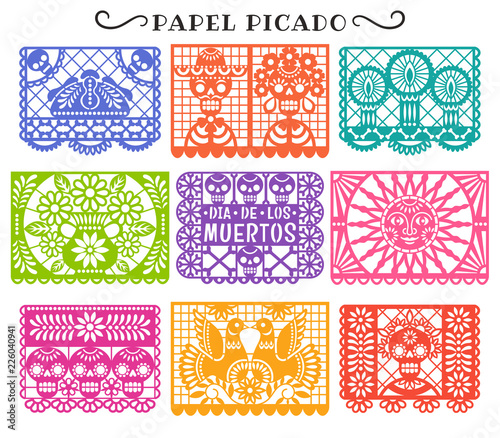 Day of the Dead. Papel Picado. Vector collection of traditional Mexican paper cutting templates. Isolated on white. © nadzeya26