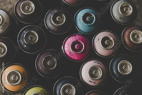 Close Up Of Spray Cans