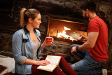 Romantic weekend in mountain near fireplace - 226047548