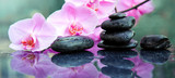 Pink orchids flowers and spa stones . Spa background.