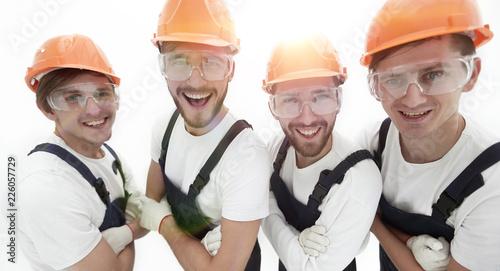 Leinwandbild Motiv closeup.A group of professional industrial workers.