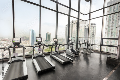 Gym room on top of modern building buy photos ap images