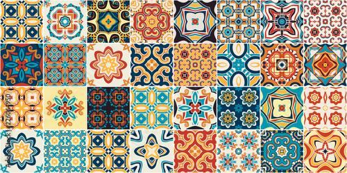 Traditional ornate portuguese decorative tiles azulejos. - 226064950
