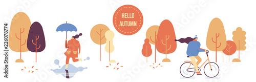 Autumn park horizontal banner. Girls in warm clothes having fun outdoors in urban park - jumping through puddles, riding bicycle, . Flat Vector illustration.