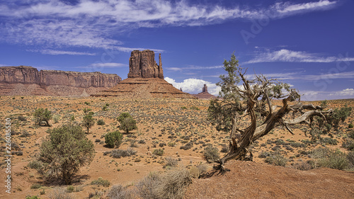 Big butte on a desert on blue sky background
