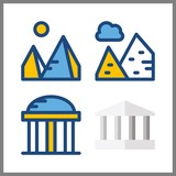 monument vector icons set. monumental, temple and pyramids in this set.