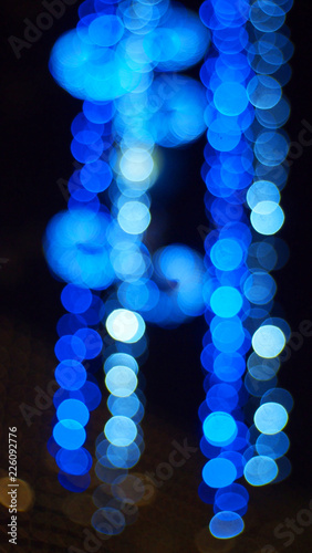 Night Bokeh Blue Neon Lights - 226092776