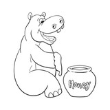 Black and white illustration of happy cartoon hippopotamus who prepared to eat large portion of honey