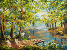 "Постер, картина, фотообои ""Oil painting landscape - autumn forest near the river, orange leaves"""