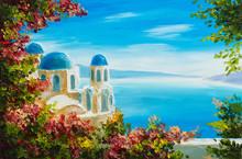 """Постер, картина, фотообои """"oil painting - house near the sea, colorful flowers, summer seascape"""""""