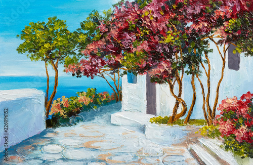 oil painting - house near the sea, colorful flowers and trees, summer seascape © Fresh Stock