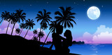 Silhouette of a couple embracing on the beach - 226098176