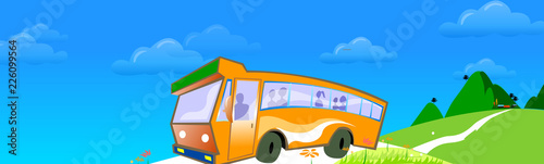 Fototapeta Bus moving on the road