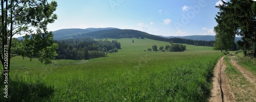 eastern view in Hranicky in Rychlebske hory mountains on czech/poland border - 226105770