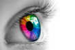 Leinwandbild Motiv Eye With Rainbow Colors